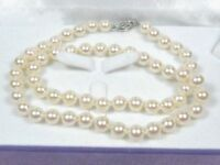 """GORGEOUS AKOYA WHITE 8-9mm AAA+ ROUND PEARL 18"""" NECKLACE 14K GOLD CLASP"""
