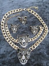 Leopard Necklace Bracelette Earring ring Set Panther Head crystal Gold chain cat