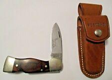 NICE VINTAGE WESTERN S-532 FOLDING LOCK BACK BLADE KNIFE & LEATHER SHEATH ~ USA