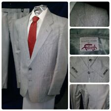 VTG FABERGE MENS SUIT GREY RED STRIPE DOTS UNIQUE JACKET 42R PANTS 36X28.5 SHORT