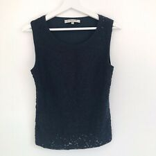 LK Bennett Womens Navy Blue Wool Textured Tank Top Sleeveless Jumper Top Size M