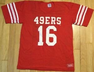 Vintage 80s JOE MONTANA San Francisco 49ers shirt L jersey Rawlings red #16 NFL