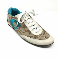Women's Coach Perrie Fashion Shoes Sneakers Sz 7.5M Brown Blue Classic Canvas V9