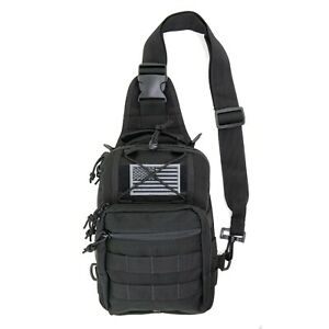 LINE2design First Aid Sling Backpack - EMS Emergency Medical Molle Bag - Black