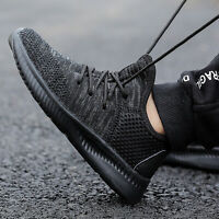 Kids Sneakers Lace-up Breathable Boys Tennis Shoes Breathable Hiking Shoes Black