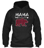 Womens Mama Bear Plaid Family - Gildan Hoodie Sweatshirt