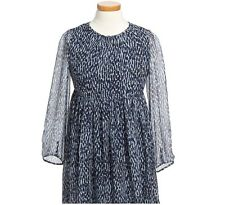 NEW $350 Burberry Girls Navy Blue Silk Dress, Size 12Y/152cm, with GIFT Bag