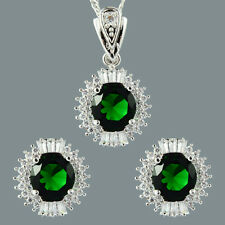18K White Gold Gp Round Cut Zirconia Green Emerald Earrings Necklace Jewelry Set