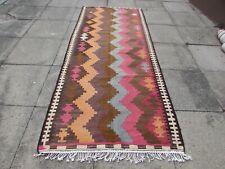 Vintage Traditional Hand Made Oriental Wool Brown Pink Long Kilim 290x119cm