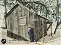 1908 Man Posing By Old Wooden Barn Vintage Photo Dry Glass Plate Negative