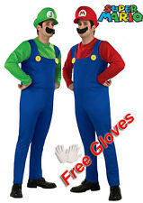 Mens 2PCs Super Mario Luigi and Mario Plumber Fancy Dress Costume Deluxe WGloves
