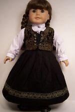 "Swedish Dirndl Skirt Blouse Vest Doll Clothes For 18"" American Girl (Debs)"