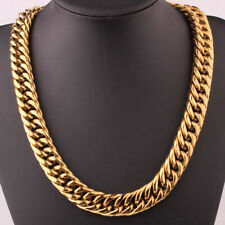 """Tone Curb Cuban Link Chain Necklace 23.6"""" Men Stainless Steel Heavy 20mm Gold"""