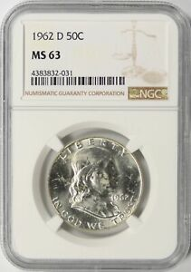 1962-D Franklin Silver Half Dollar 50c NGC MS63