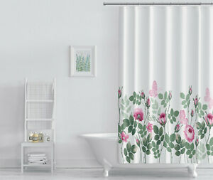 Stylish Printed Bathroom Waterproof Shower Curtain With 12 Hooks NEW DESIGNS