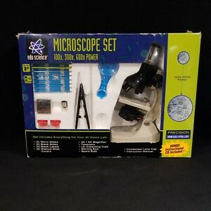 Edu Science Microscope Set 100x/200x/600x Slides, Tweezers, Collecting Vials LN