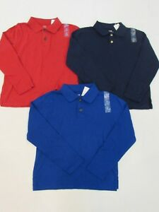 NEW LOT OF 3 BOYS' THE CHILDREN'S PLACE L/S POLO SHIRTS, SMALL 5/6