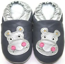 minishoezoo soft sole leather Toddler shoes hippo gray 6-7 years free shipping