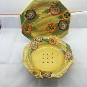 1930's Carlton Ware Yellow Anemone Cress Drainer and Stand 10 PHOTOS RARE