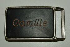 Vintage Leather Faced Name Camille Black Belt Buckle