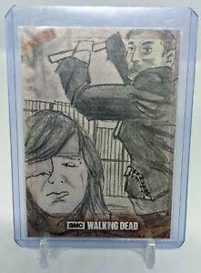 2017 Topps The Walking Dead Sketch Negan & Carl Sketch by Dean Drummand