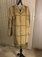 Womens Static Suede Leather Tan Coat W/Crochet Trim Size L