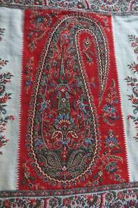 Fantastic antique c1800 hand woven fine wool panel paisley boteh Kashmir shawl