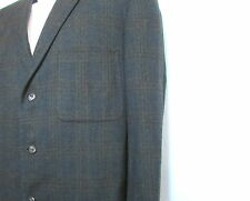 Mens Andover subtle plaid olive green navy blue 3 button 42 R 48 all season wool