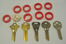 LOT OF EIGHT RED LARGE KEY IDENTIFIER RINGS IDENTIFICATION FOR KEYS