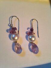 Amethyst Briolett Pearl Shepard's Hook Earrings Sterling Silver 925