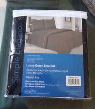 Simple Elegance Luxury Queen Sheet Set 100% Microfiber Wrinkle Free Gray