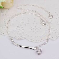 925 STERLING SILVER PLATED CLEAR CRYSTAL DROPLET ANKLET