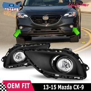 For 2013-2015 Mazda CX-9 Winjet OE Factory Fit Fog Light Bumper Kit Clear Lens