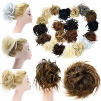 Curly Bun Hair Extensions Messy Hair Piece As Human Hair Bun Scrunchie Brown US