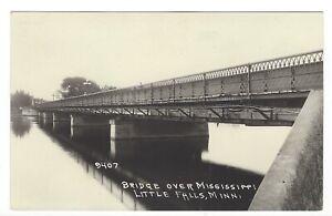 LITTLE FALLS, MINNESOTA, Bridge Over the Mississippi RPPC Postcard