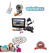 """KIT VIDEOSORVEGLIANZA WIRELESS COMPLETO CON TELECAMERA MONITOR 7"""" LCD + CAVI"""