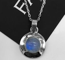 Round Sterling Silver 925 Moonstone Gemstone Pendant Designer Necklace