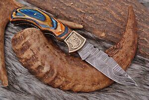 CUSTOM HAND FORGED DAMASCUS STEEL Folding Pocket Grip  KNIFE Lockback +Sheath
