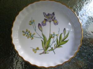 "Vintage Spode Stafford Flowers Flan Dish Iris & Sphaerolobium Oven to Table 9"""