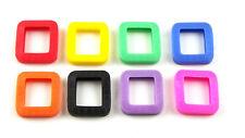 8 Schlüsselkennringe (eckig), ca. 25x25mm, farblich sortiert