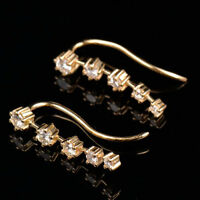 Natural Diamond Earrings Jacket Ear Climber Design Solid 18K Yellow Gold Jewelry
