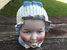 Antique Gesetzlich Geschutzt German Porcelain Covered Figural BABY Head Damage
