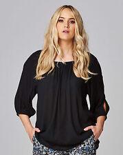 Tunika Gr.48 Schulterfrei Shirt Top Schlitze Babydoll schwarz Armfrei Longtunika