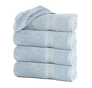 """Pack of 4 baby Blue Large Bath Towel Sheets Pack 100% Cotton 27""""x55"""" Sky Blue"""