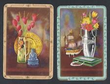 #150.560 vintage swap card -FAIR pair- Still-Life desk arrangements with flowers