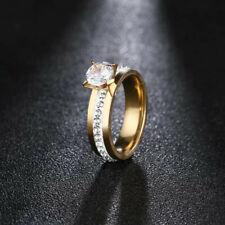 Bague strass zircon alliance acier inoxydable doré plaqué or taille 50