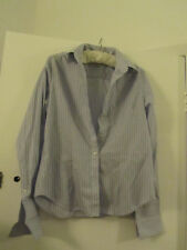 Savile Row Blue & Pink Striped Semi Fitted Smart Shirt in Size 14