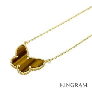 Van Cleef & Arpels Lucky Alhambra 18K Yellow Gold Tiger Eye Necklace from Japan