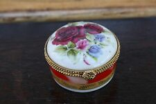 Vintage miniature Jewelry box White with drawings of flowers roses