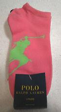 Ralph Lauren Womens Low Cut Socks NEW 3-Pack Pink/White